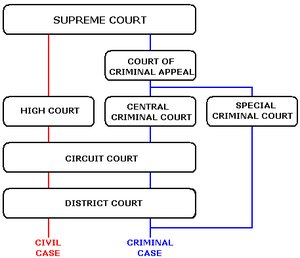 Graph of Courts system in Ireland
